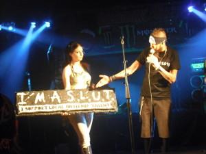 Event organizers Aaron Snyder/Katarzyna Kozicka show off the Slutfest raffle prizes.