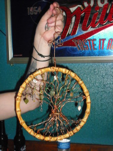One of two guitar string dream catchers by Nan Mitch auctioned over the weekend.