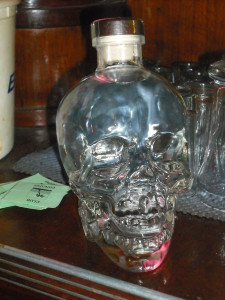 An auctioned bottle of Crystal Head (Skull) Vodka.